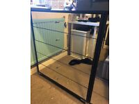 Black wood chest of drawers with mirrored front x2