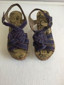 Fly 'grin' purple strappy wedge sandals size 5, unworn, cost £85.00 selling for £55.
