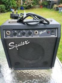 Reduced Squire by Fender guitar practise amp with overdrive