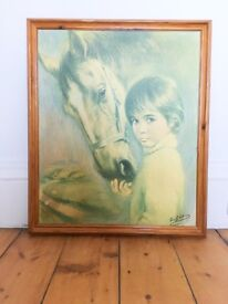 Kitsch Lou Shabner Retro Print of Boy with Horse
