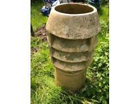 Garden planter Chimney pot terracotta clay vintage urn.