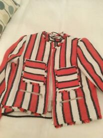 Zara Red and Navy Stripe biker jacket size small