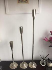 Set of 3 Chrome candle holders