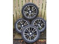"""FOX RACING ALLOY WHEELS (Set of 4) - 17"""" x 225mm - Black / Silver with Tyres"""