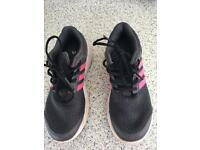 Ladies grey and pink Adidas trainers size 4