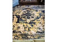 Extra Large, Navy & Yellow Rug