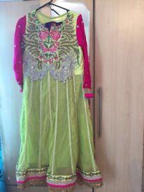 Green anarkali dress size large