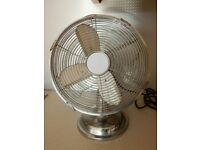 Vintage Chrome Fan - Fab Design - Great Detail - Industrial style - Oscillating - Working