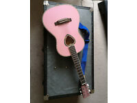 Pink 3/4 Acoustic Guitar - With Carry Case