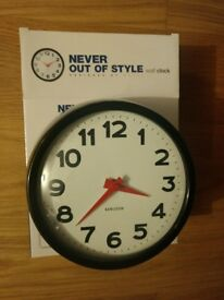 Karlsson - Never Out Of Style steel wall clock (Black case/white/red hands)