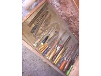 Random selection of hand tools WHAT YOU SEE IS WHAT YOU GET Chisels, Screwdrivers etc