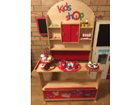 Kids Wooden Shop with accessories