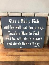 Lovely Quirky Metal Fishing Sign