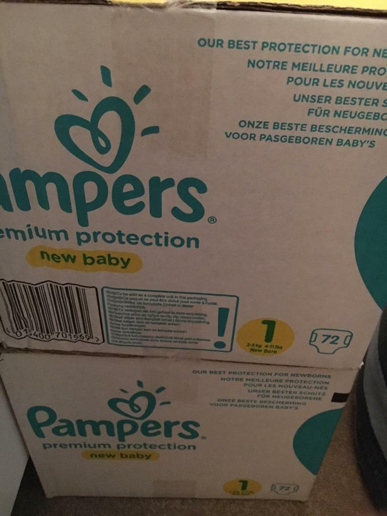 Pampers newborn nappies size 1 2x72