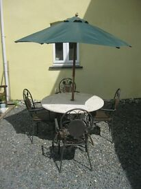 VINTAGE ORNATE QUALITY, STURDY SOLID CAST PATIO MATCHING SET. LARGE ROUND TABLE & CARVER CHAIRS