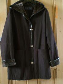 Stylish Dark Brown Alexon rain (shower) coat with hood, Size 10