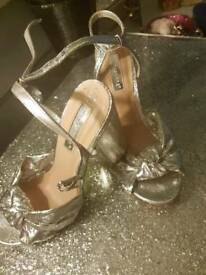Silver ladies, womens ankle strap, block 4inch heel,peep toe, sandles, party shoes.