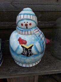 Christmas cookie jar and plate