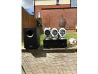 home sound system, yamaha amp rx-a840, canton subwoofer 80cx..7x kef kht 2005.2 speakers