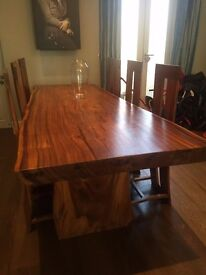 solid wood live edge slab table, handmade in Bali RRP£5000