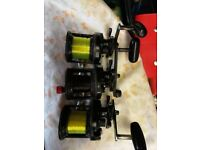 3 shimano speedmaster multyplier fishing reels 2 are mags
