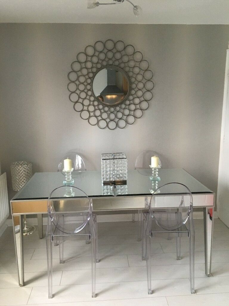 Next Mirrored Dining Table And Chairs Almost Brand New
