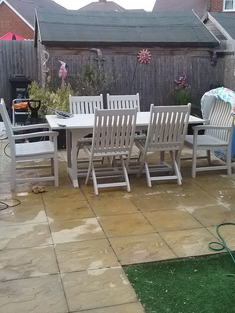 Astonishing Wooden Garden Table And Chairs Looks Amazing Painted Stone Colour In Eastleigh Hampshire Gumtree Home Interior And Landscaping Ferensignezvosmurscom