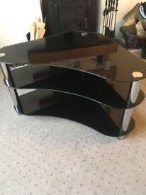 Corner TV Stand - polished black glass