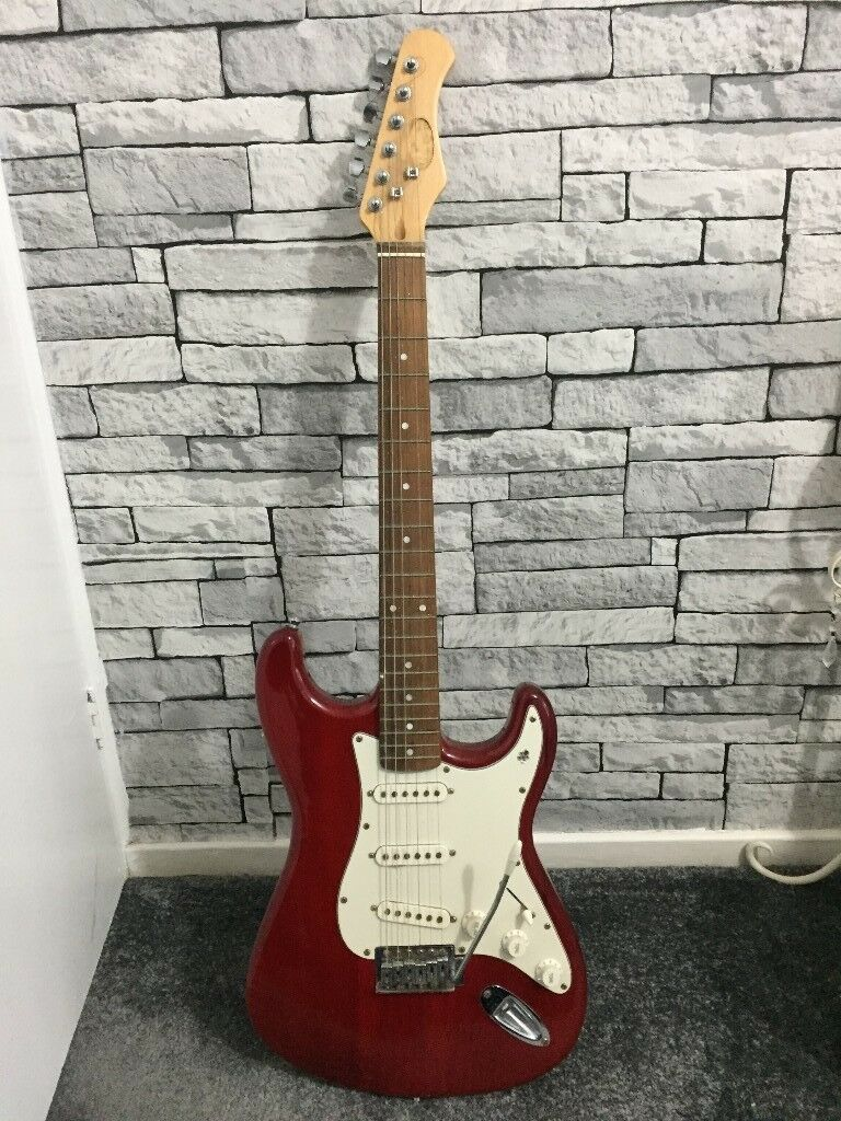 GUITAR Stagg Standard Electric Guitar Trans Red Full Size