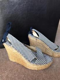 Summer Wedges Blue and White checked (UK 7)