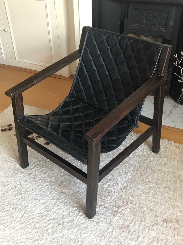 Strange Mango Wood And Dark Blue Leather Arm Chair In Fulham London Gumtree Camellatalisay Diy Chair Ideas Camellatalisaycom