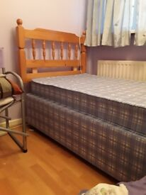 Single bed with mattress and head board pine in excellent condition