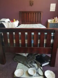 Single Bed Frame Wooden Dark Brown Pre-owned Looks New Easy Assemble