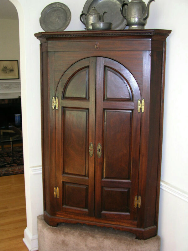 Fine 18th Century English Corner Walnut Cupboard tombstone doors Magnificent