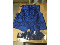Blue paisley pattern waistcoat and matching cravat size XL