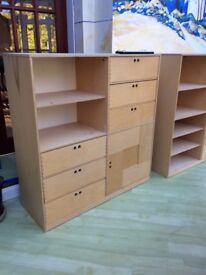 2 Childrens' shelf/cupboard units. Will sell separately.