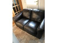 2 X 2 Seater brown Leather sofa