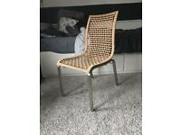 IKEA Woven Dining WICKER Chair Rattan With Metal Legs