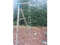 Wooden swing and rope frame