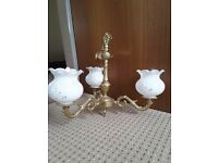 Gold/ brass ceiling light with white glass shade