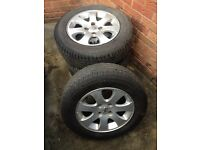 "Pug 307 15"" alloy wheels with 195/65/15 budget tyres. Come with centre caps and locking wheelnuts."