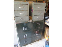 2 Large Metal Drawer Cabinets Smaller And A Door Cabinet Buyer Collects Cash On