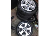 "Bmw 1 series alloy wheels 16"" x5 with a month old tyre"