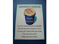 'A Drinkers prayer' metal pub sign