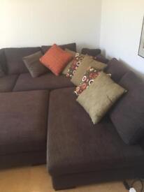 Large Dark brown modular L shape sofa