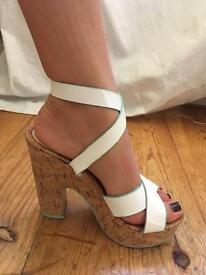 White leather cross over strap cork heels - SCHUH