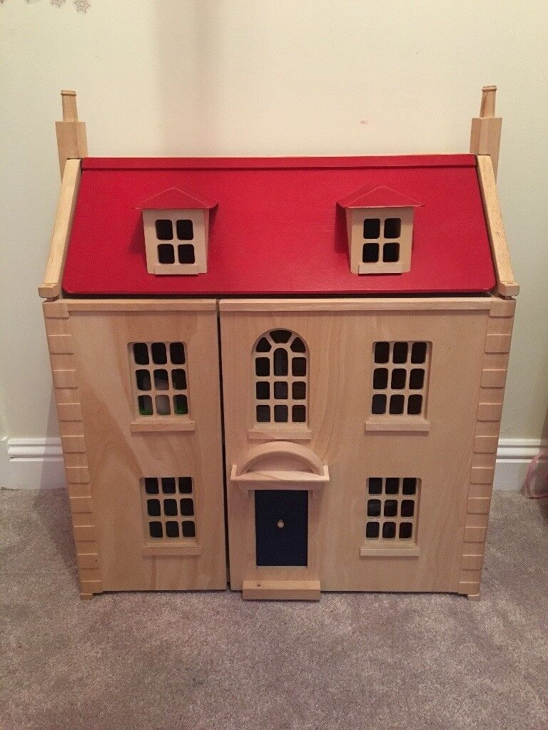 Kids Wooden Dolls House (John Lewis) with wooden furniture | in ...