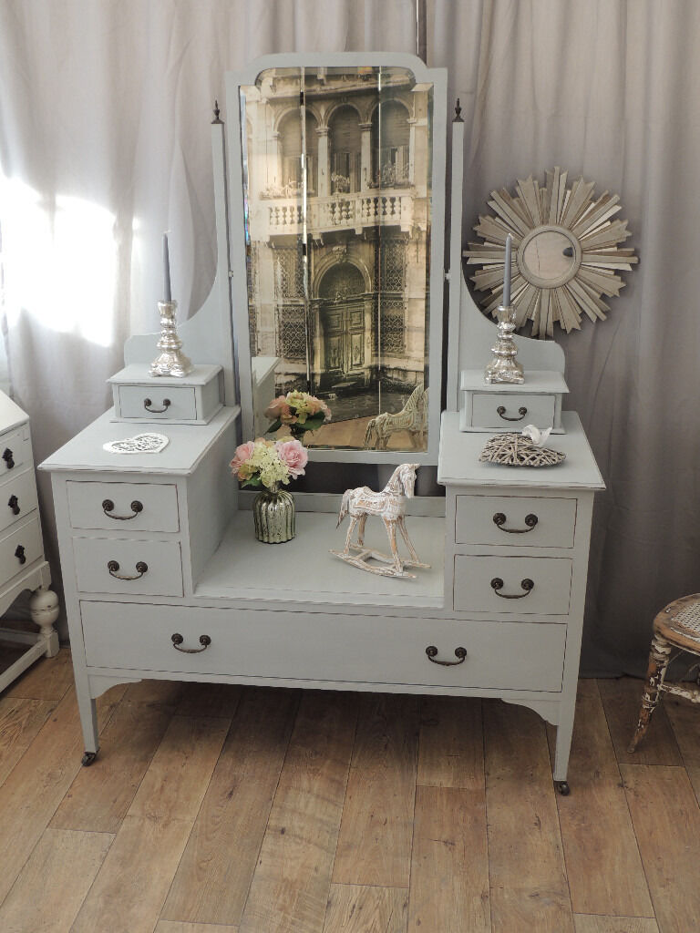 Shabby chic edwardian dressing table with beveled mirror in shabby chic edwardian dressing table with beveled mirror geotapseo Images