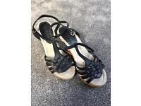 Next black wedge sandals- size 4