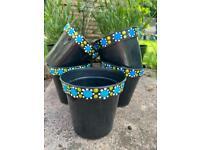 Blue spotted plant pots